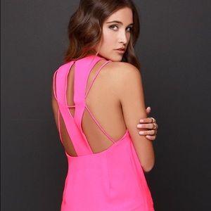 Lulu's Let Me X-Plain Hot Pink Top